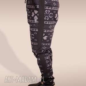 drukowane spodnie z lampasami, nadruk, drukowane, lampasy, wygodne, baggy