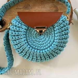 ręcznie wykonane na ramię szydełkowa torebka oreo kolor dusty mint
