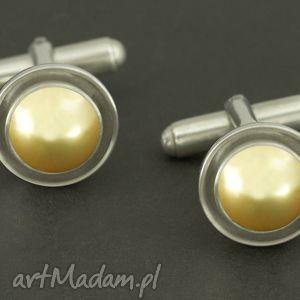 eleganckie spinki do mankietów złota perła swarovski - złote, spinki