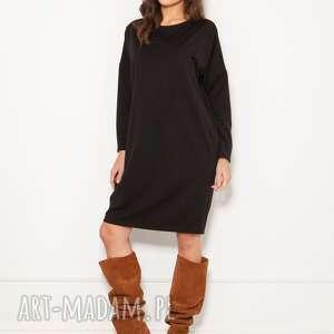 sukienki oversizeowa sukienka w typie bluzy, suk191 czarny, polski produkt