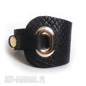 hand made bransoletka skórzana czarna wężowa eyelet
