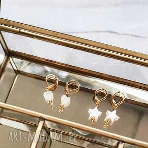 kolczyki - gwiazdki, kolczyki, biżuteria, masa perłowa, perły