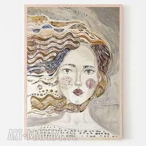 plakat a4 - dziewczyna na wietrze, plakat, wydruk, obraz, twarz, portret
