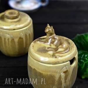ręczne wykonanie ceramika zestaw pojemników na sól oraz cukier   z kotem solniczka
