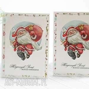 santas coming - komplet trzech kartek, kartka, kartka świąteczna, z mikołajem