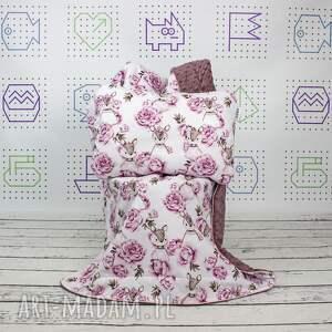 zestaw kocyk i płaska poduszka sarenka w piwoniach, do łóżeczka