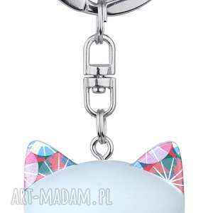 breloki brelok mani lucky cat niebieski 4 cm, brelok, kotek, szczęście, kimmidoll