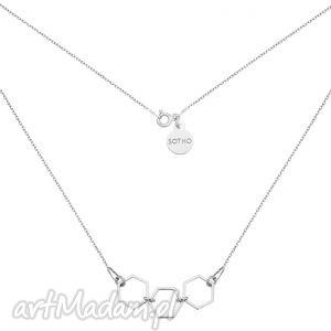 srebrny naszyjnik z trzema szeŚciokĄtami - modny, minimalistyczny, geometryczny