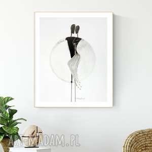 grafika 40 x 50 cm wykonana ręcznie, abstrakcja, elegancki minimalizm