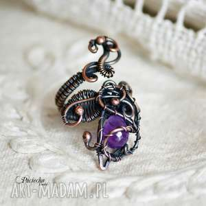 violet - pierścionek z ametystem, pierścionek, miedź, barokowy, retro, ametyst