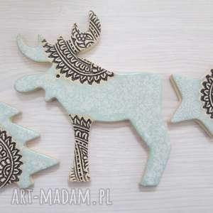 pomysł na prezent pod choinkę zestaw 3 magnesów świątecznych pastelowych, magnesy