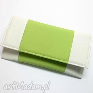 Kopertówka - biała i środek jasny zielony, elegancka, wizytowa, wesele, wieczorowa