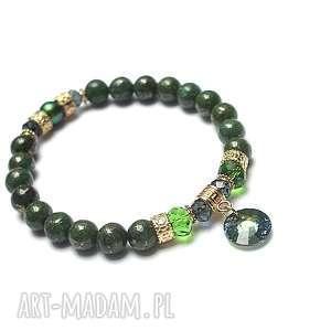 ki ka pracownia green button /08-11-18/ -bransoletka, piryty, swarovski, perła