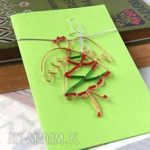 handmade prezenty świąteczne kartka na życzenia 3d z czerwono-zielonym