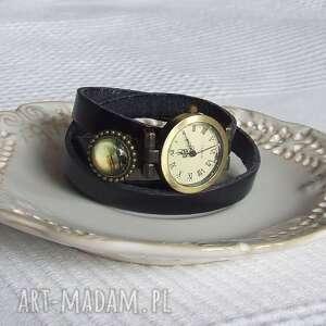 Zegarek Vintage z Grafiką Skórzany Czarny, biżuteria, zegarek, bransoletka, złoto