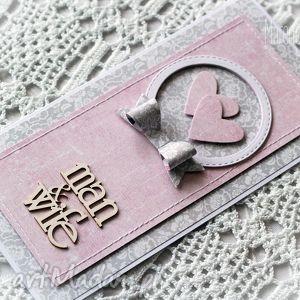 man wife - kartka ślubna w szarości i różu, kartka, man, wife, gratulacje