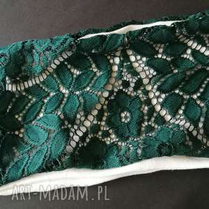 ręcznie robione opaski opaska damska koronkowa ciemna zielen boho