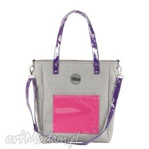 na ramię torba damska cuboid pink fiolet, usztywniana, prezent, handmade, modyfikacja