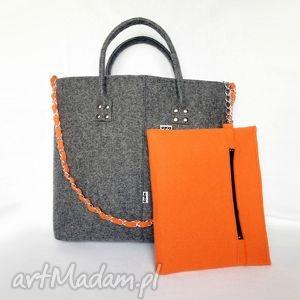 glamfelt - torba do ręki 2w1 szaro pomarańczowa - duża, xxl, torba, elegancka