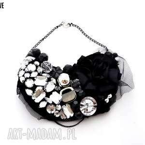 black widow naszyjnik handmade - naszyjnik, czarny, srebrny, błyszczący