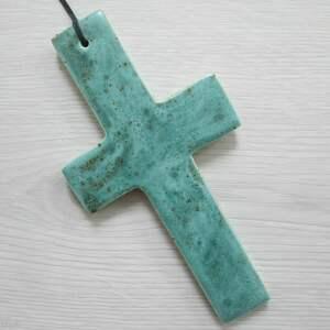 Unikatowy krzyżyk ceramiczny dekoracje ceramika ana krzyż