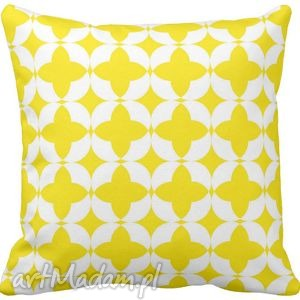 Poduszka ozdobna dekoracyjna żółto-białe figury geometryczne 6581, żółta