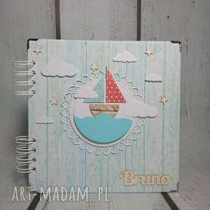 scrapbooking albumy miętowe wyprawy morskie, łódka, marynarz, chrzest, urodziny