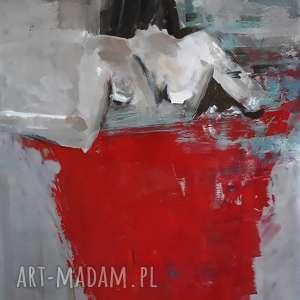 dom czerwona chusta, duży obraz kobieta, do salonu, z czerwienią