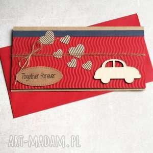 kartka - kopertówka brum red, ślub