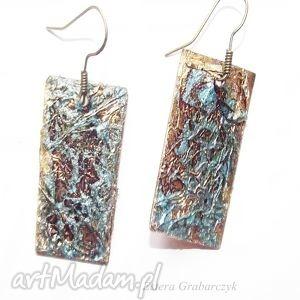Artystyczne miedziane kolczyki esterka jedyne, kolczyki, miedź