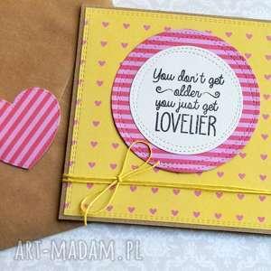 hand made kartki urocza kartka urodzinowa:: yellow & pink