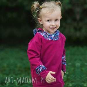bluza dziewczęca z kapturem kalejdoskop bordowa, bluza, dziecięca, kaptur