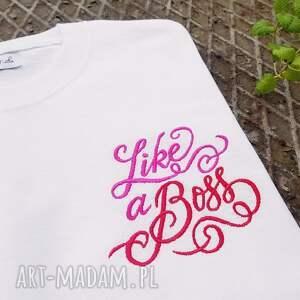 hand-made koszulki t-shirt bawełniany z haftem like a boss
