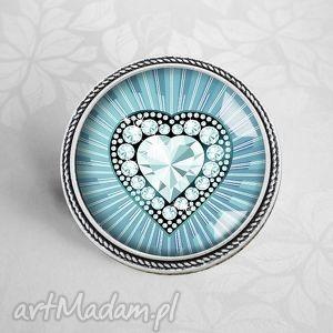 Prezent diamentowe serce - broszka, niebieska, błękit, serce, serduszko, prezent