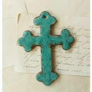 ceramika krzyżyk z motywem koniczyny niebieski, ceramika, krzyżyk, komunia