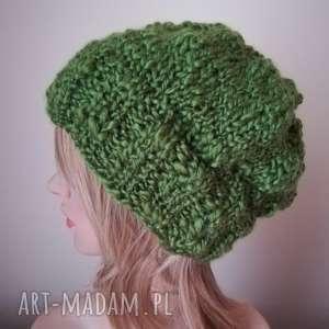 ciekawe zielenie czapka - rękodzieło, czapka, druty, zima, prezent