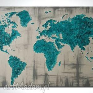 obraz 96x54 - MAPA ŚWIATA 3D 06 ręcznie malowana, obraz, płótnie, mapa, świata