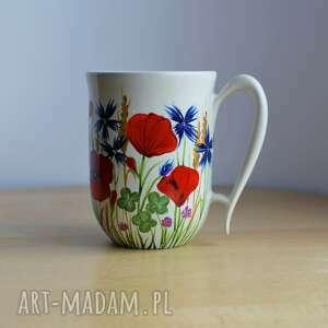 kubek w polne kwiaty ręcznie malowana ceramika 300 ml, kubek, ceramika