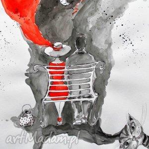 grafika akwarelą i piórkiem wspólna przyszłość artystki adriany laube, ławka