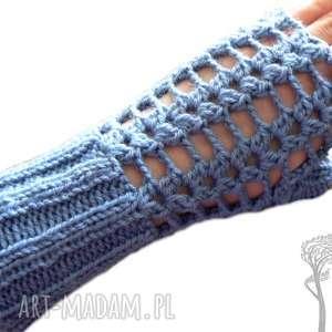 Bezpalczatki #10, mitenki, ażurowe, jeansowe, szydełkowe, rękawiczki