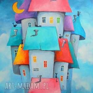 Obraz na płótnie - Bajkowe miasteczko format 40/30 cm, domki, koty, czerwień