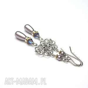 alloys collection /pearls rosette /mauve, stal szlachetna, srebro, perły