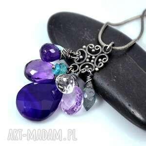 fiolety w oksydzie - srebro, oksydowany, minerały, wisior