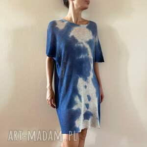 hand-made tuniki tunika lniana blue&creamy