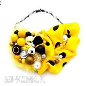 bzzz naszyjnik handmade - naszyjnik, żółty, czarny, żółtoczarny