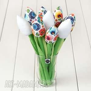 myk studio tulipany kolorowy bawełniany bukiet, łowicki na białym tle, kwiaty