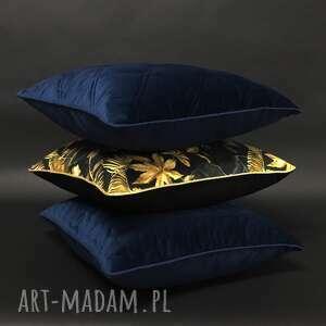 poduszki welur, granatowe i złoto 45x45cm, komplet poduszek, zestaw