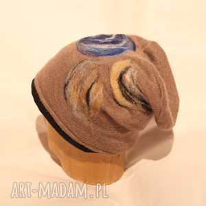czapka wełniana filcem ozdabiana d1, wełniane czapki