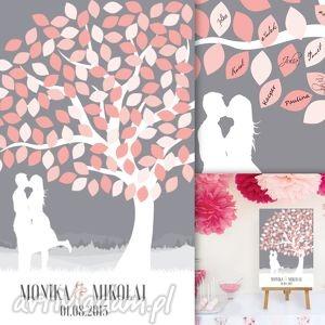 Drzewo zakochanych - plakat a la księga gości Format 60x90 cm, ślub, wesele,