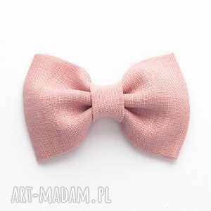 spinka do włosów kokarda puder roż linen, spinki włosów
